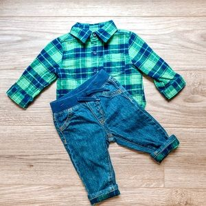 Baby Boy Flanel top and Jeans Size 6-12M